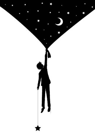 boy silhouette holding the night sky curtain with stars, on the heavens, dream concept 일러스트