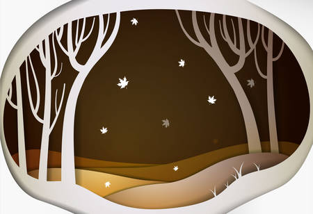 Paper autumn forest landscape with falling leaves, paper october fairy tale background,