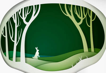 Paper spring forest landscape with hare, paper spring fairy tale background with easter rabbit