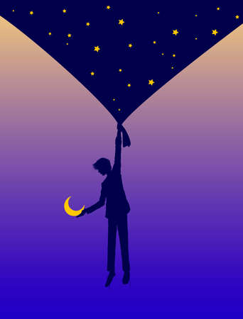 boy shadow or silhouette holds the night sky curtain with stars and invites the moon in the heavens. Dream story concept.