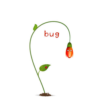 spring character on the white background, red flower and bud, flower cartoon character flower surprised with red ladybug scene Ilustracja