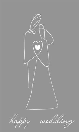 wedding couple creative concept, simple silhouette bride and groom on the soft grey background,