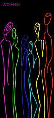 women concept in modern creative style, women are different concept, crowd of vivid colored figures on the black background, vector Vettoriali