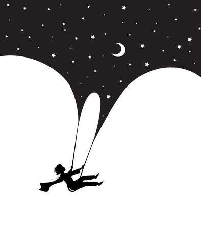 concept of childhood night dream at midnight, dream scene in black and white, boy silhouette on the swing flying under the night sky, shadow story