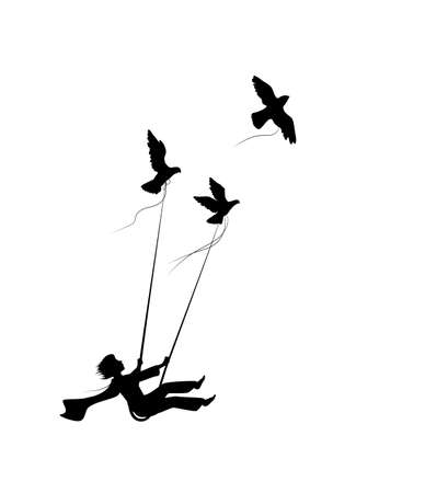dream flying concept, boy on the swing is flying away and holding pigeons, fly in the dream land, shadows, silhouette.
