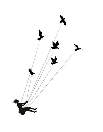 flying girl and holding pigeons, fly in the dream, shadows, black and white, silhouette. Ilustracja