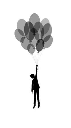 boy silhouette holds the baloons on the white background, dreamer concept, black and white people silhouette, shadow story vector Archivio Fotografico - 142761395