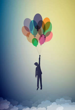 boy silhouette holds the baloons and flying up to the sky, dreamer concept, flight to the dreamland, shadow story vector
