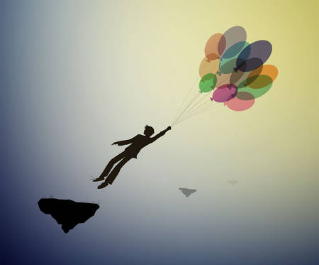 teenager silhouette holds the baloons and flying up to the sky, strong wind story, dreamer concept, scene in dreamland, shadow story vector 矢量图像