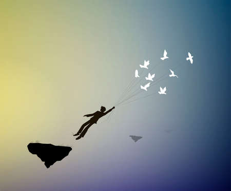 boy is flying away and holding pigeons, fly in the dreamland, fly away in your dream to the heavens, shadows, life on flying rock, silhouette.