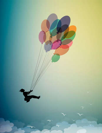 childhood dream concept, girl silhouette flying on the colored baloons and flying up to the sky with flock of flying birds, dreamer, flight to the dreamland, shadow story Ilustração