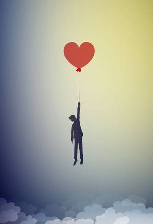 in love concept, boy silhouette holds the red heart shaped balloon and flying up to the sky, dreamer concept, shadow story vector Ilustração
