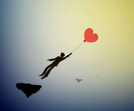 fall in love concept, boy silhouette holds the red heart shaped balloon and flying up to sun, dreamer concept, shadow story vector
