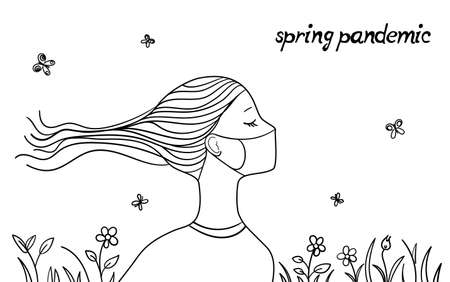 spring pandemic covid-19 concept, young girl in medical mask enjoy the spring time, allergic or pandemic mood girl character, vector 스톡 콘텐츠 - 143227051