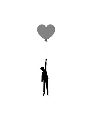 in love concept, boy silhouette holds the heart shaped balloon, dreamer concept, shadow story vector