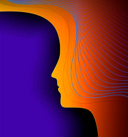 woman profile, technology and human concept, woman psyhology creative idea, vector