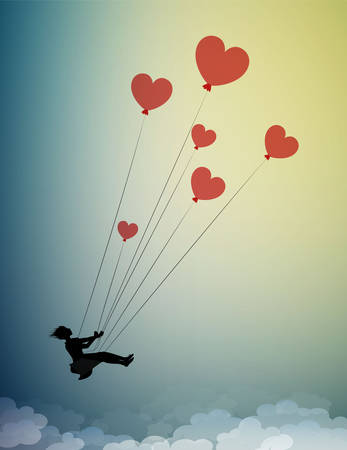 in love concept, girl silhouette holds the red heart shaped balloons and flying up to the sky, dreamer concept, shadow story Archivio Fotografico - 143407200