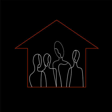 stay home concept, covid-19 self isolation, crowd of white colored people inside the red colored house shape, vector