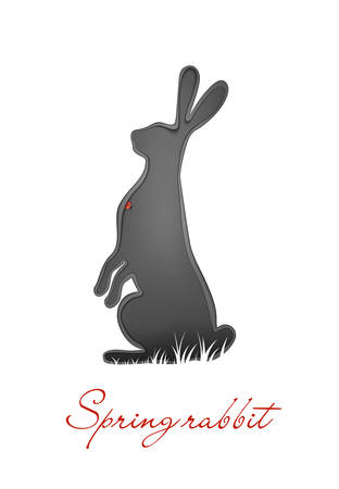 Easter hare concept, Easter rabbit in grey color with red bug, new look on Easter holiday symbol, Archivio Fotografico - 144413810
