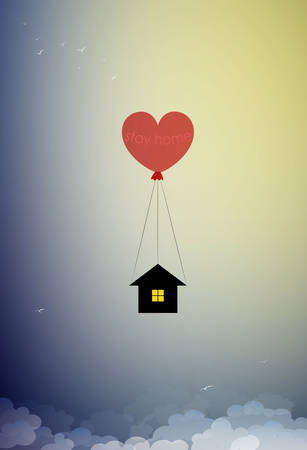 stay home concept,sace life stay home, house hanging on the red heart shaped balloon and flying up to the sky, home isolation, 矢量图像