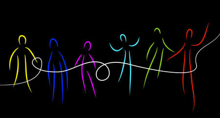 connect the people concept, crowd of vivid colored people connected with one white line, communication creative contemporary idea, Archivio Fotografico - 143891481