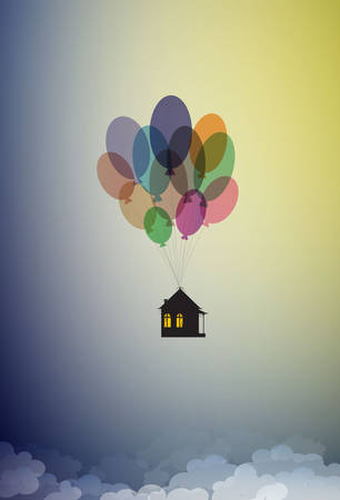 stay home concept, save life stay home, house hanging on the colored flying ballons in the sky, home isolation, vector Archivio Fotografico - 143902588