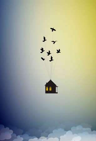 dream at home concept, travel in dream idea, save life stay home, flock of birds flying away with house in the sky, home isolation, vector