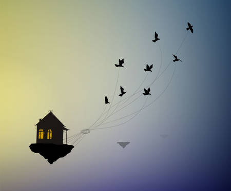 dream at home concept, travel in dream idea, save life stay home, flock of birds flying away with house in the sky, home isolation,