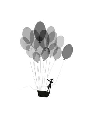 dream concept, girl silhouette flying on the air baloon and flying up to the sky, dreamer, flight to the dreamland, shadow black and white story, vector