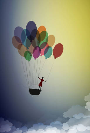 Dream concept, girl silhouette flying on the air balloon and flying up to the sky