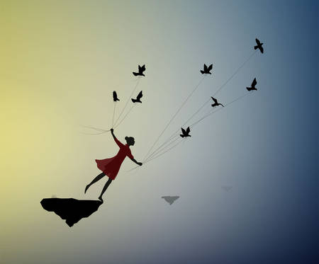 girl is flying and holding pigeons, fly in the dream, shadows, life on flying rock, silhouette.