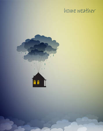 stay home concept, save life stay home, house hanging on the colored flying ballons in the sky, home isolation, 스톡 콘텐츠 - 145253034