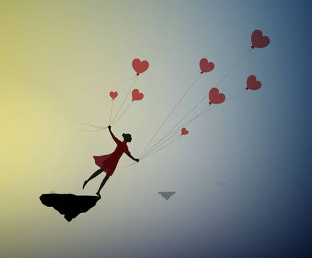 fall in love concept, boy silhouette holds the red heart shaped balloons and flying away, dreamer concept, shadow story vector