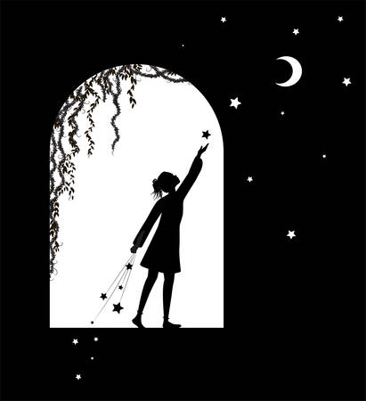 girl silhouette puts stars and moon 스톡 콘텐츠 - 144612424