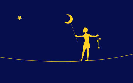 Peter Pan silhouette, boy going on the rope and holding moon and stars, on the heavens, dream, Ilustração
