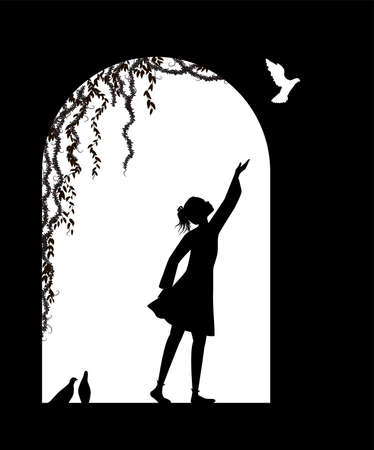 peace symbol, girl and pigeons in window arch, freedom for birds, childhood memories, black and white,