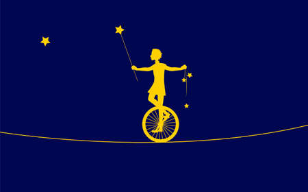 magic acrobat, Peter Pan silhouette, boy on uniwheel on the rope with stars, circus on the heavens, dream,