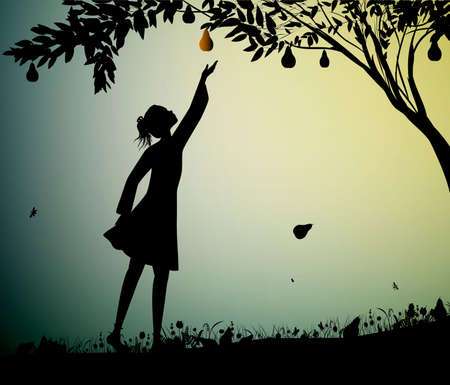 girl silhoutte harvest the pear, fruit harvest scene, summer memories, nature product concept,