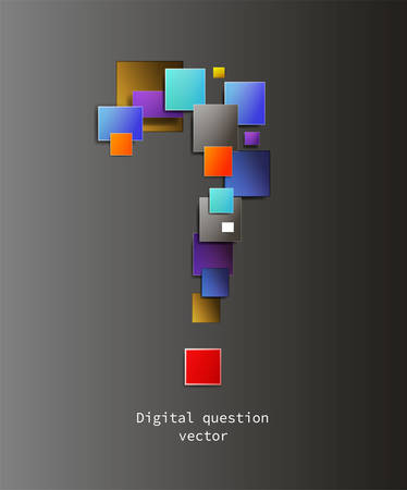 question in digital world concept, question sign creating from the colored pixels, question about internet creative idea,