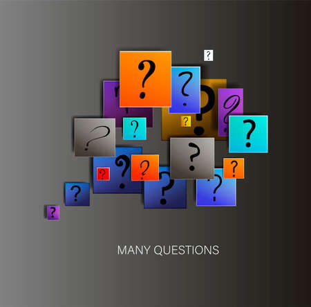many questions in business, concept of unknown, question signs on the colored squares, about new finance situation creative modern idea, vector,
