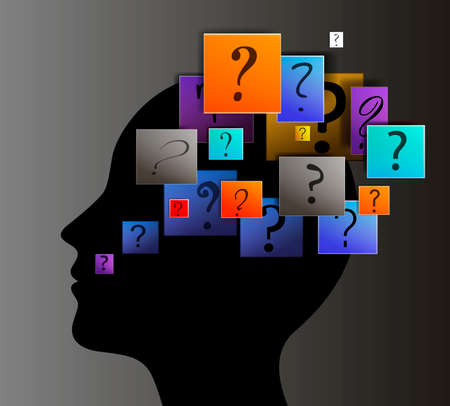 think about many questions, concept of unknown, question signs in human head, human worries modern idea,