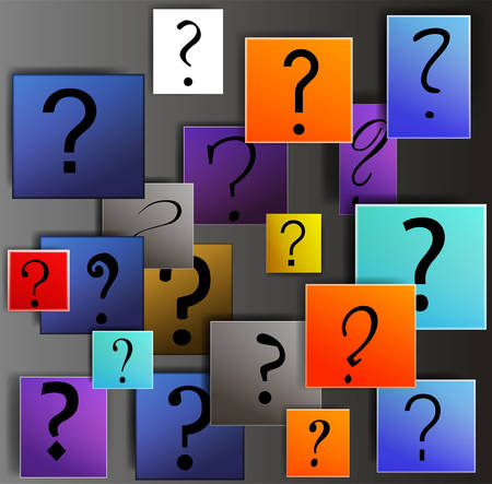 many questions in business, concept of unknown, question signs on the colored squares, about new finance situation creative modern idea, Ilustração