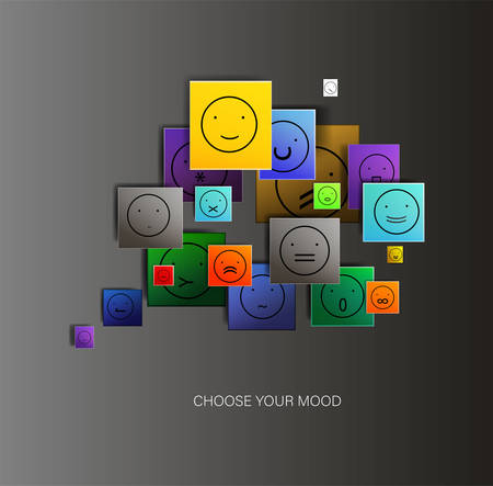 mood concept, digital mood concept, different face icons create a brain shape, choose the right expression sign, hide the emotions creative idea,