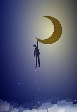 boy shadow or silhouette holds moon, man hanging on the moon, life in dreams concept, dream story concept, vector Ilustração