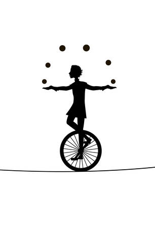 boy juggler, he juggles balls with unicycle on the rope, circus silhouette, shadow story, 矢量图像