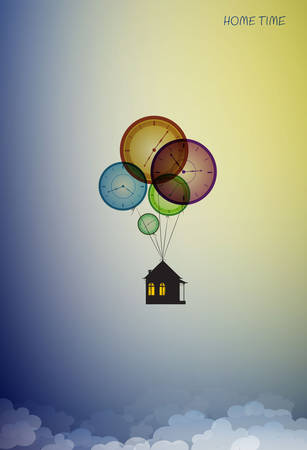 home time concept, house hanging on the colored flying clocks in the sky, time dreaming, vector