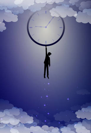 your time concept, hold on your imagination time idea, boy silhouette holds clock above the clouds, man hanging with clock at night sky, time to dream, vector