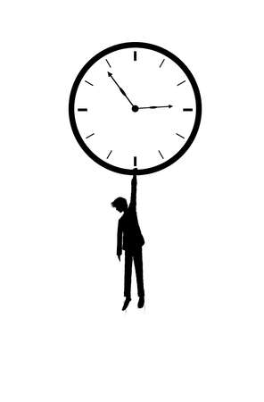 keep your time, boy silhouette holds the clock on the white background, dreaming time, shadow story vector 矢量图像
