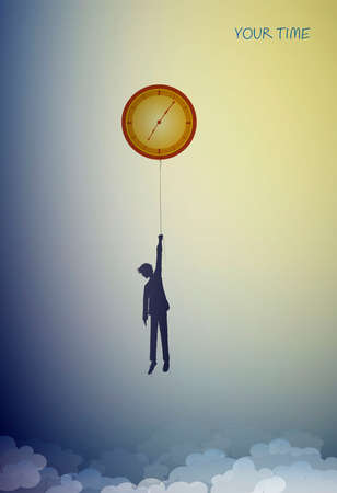 concept of your time, man silhouette holds the clock like sun on the heavens sky, dreaming time, dreamland clock, shadow story 版權商用圖片 - 146781406