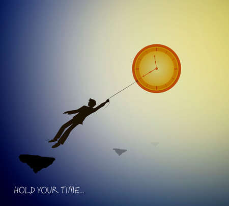 concept of the best time memories, man silhouette holding the clock like sun on the heavens sky, holding the best time memories creative idea, Archivio Fotografico - 145734211